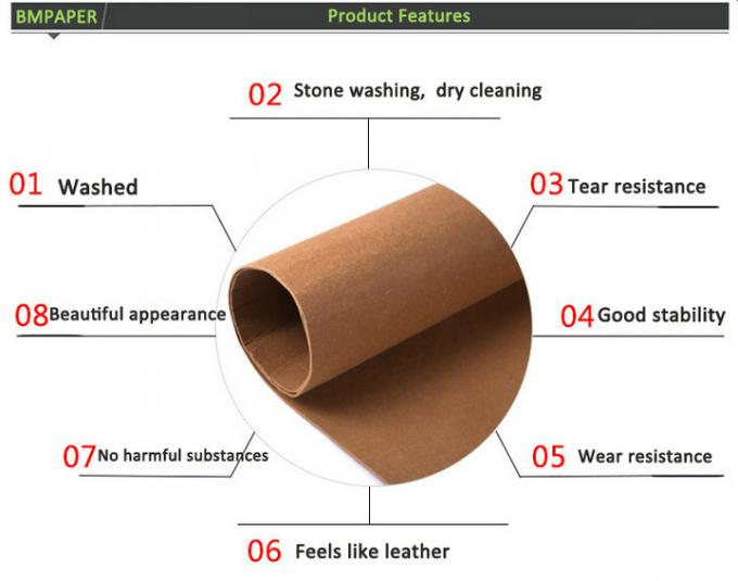 Wear resistance Durable Washable Kraft Paper Fabric For Plants Bag Various Colors